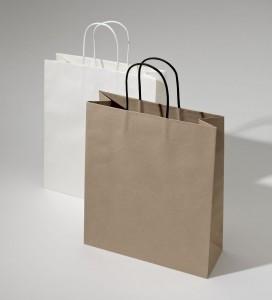 Papierová taška Kraft Classic Top biela a hnedá