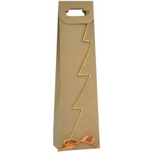 Vianočná taška na víno so zlatým lemom