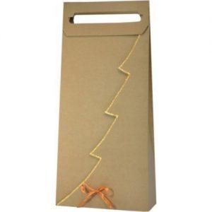 Vianočná taška na 2 vína alebo darčeky so zlatým lemom