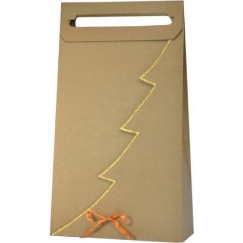 Vianočná taška na 3 vína alebo darčeky so zlatým lemom