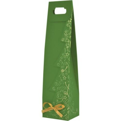 Vianočná taška na víno zelená s potlačou