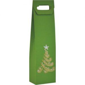 Vianočná taška na víno zelená so stromčekom
