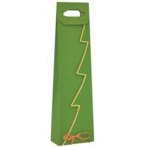Vianočná taška na víno zelená so zlatým lemom