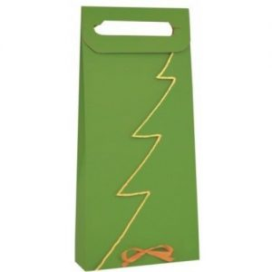 Vianočná taška na 2 vína alebo darčeky zelená so zlatým lemom