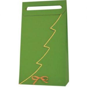 Vianočná taška na 3 vína alebo darčeky zelená so zlatým lemom
