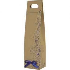 Vianočná taška na víno s modrou potlačou
