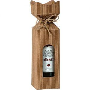 Krabica na víno z vlnitej lepenky pozlátená