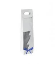Taška na víno biela s okienkom modrá mašľa
