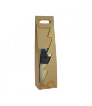 Taška na víno eko s okienkom so zlatým okrajom