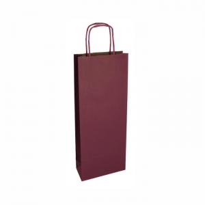 Bordová papierová taška na víno 14x8x39cm
