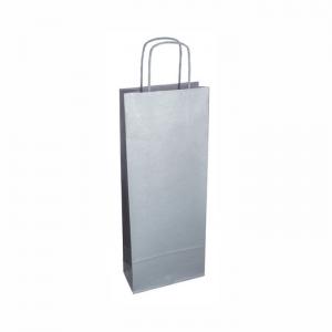 Strieborná papierová taška na víno 14x8x39 cm