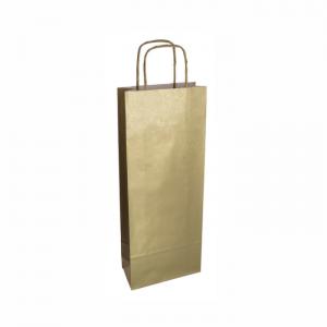 Zlatá papierová taška na víno 14x8x39 cm